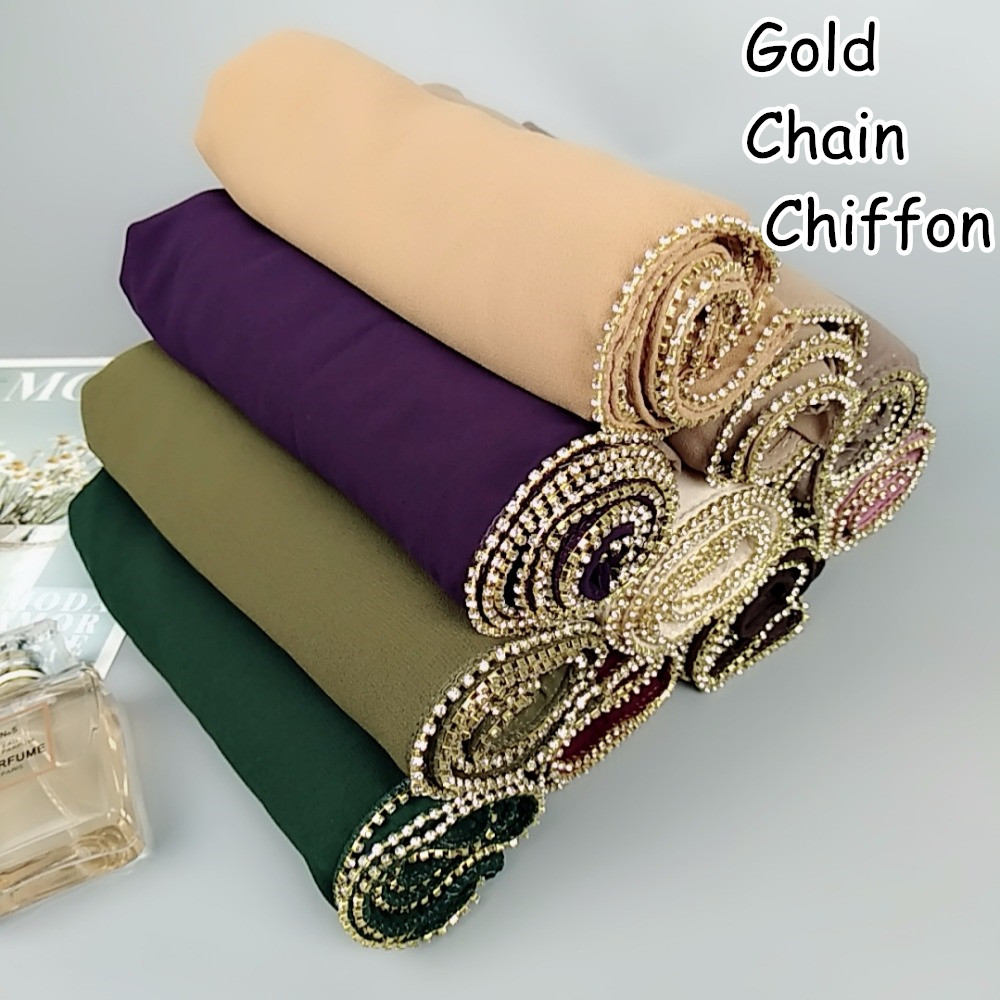 Z2 High quality gold chain bubble chiffon hijab women   scarf     scarves   shawls   wrap   headband 180*75cm can choose colors