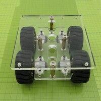 Mini BRICOLAGE N20 Châssis De la Voiture Intelligente Transparence Clear Acrylique 4WD Deux Couche RC Robot BRICOLAGE Kit N20 Moteur Roues 90*90mm