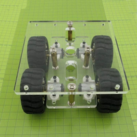 Mini DIY N20 Smart Car Chassis Transparency Clear Acrylic 4WD Two Layer RC Robot DIY Kit N20 Motor Wheels 90*90mm