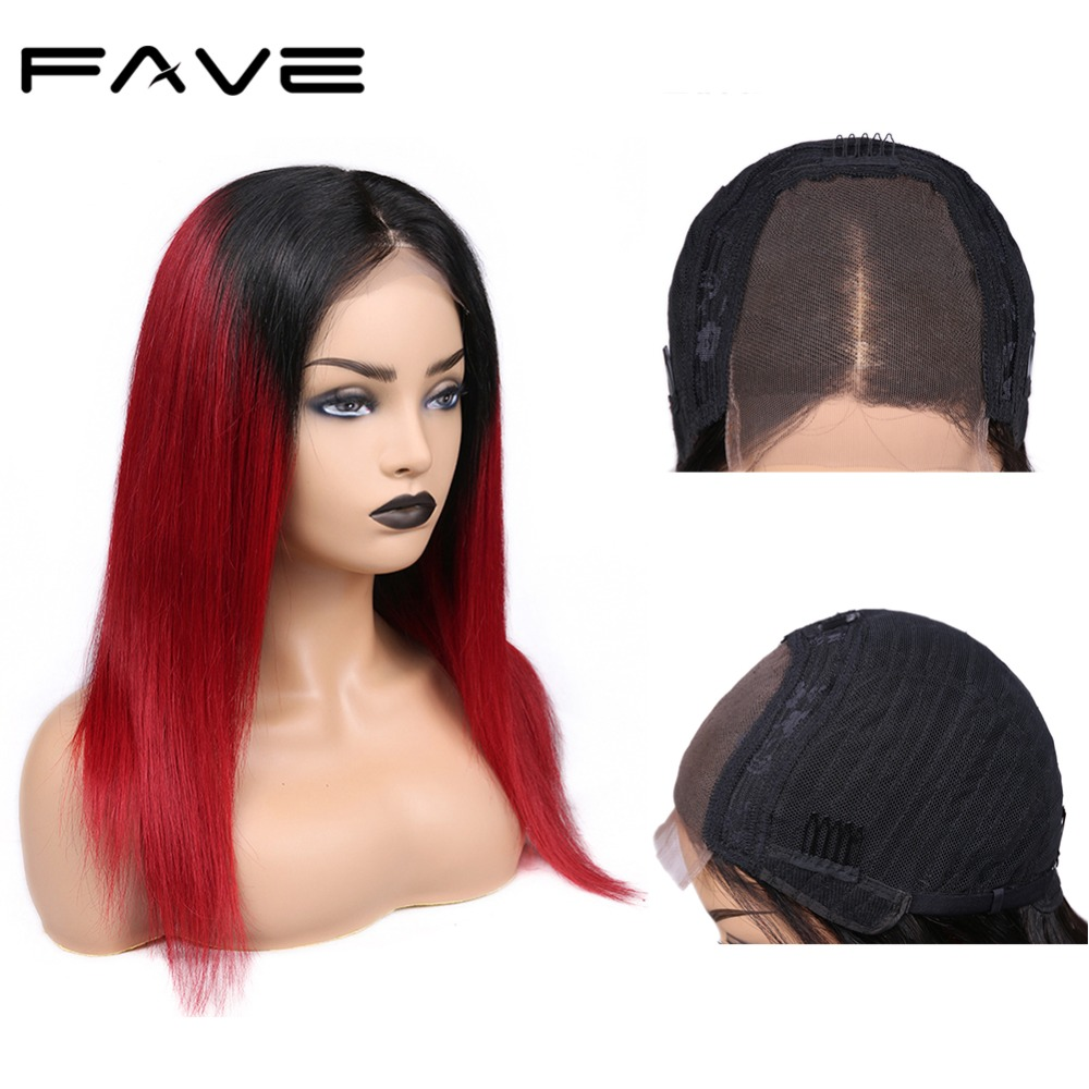Brazilian 4*4 Lace Closure Ombre Wigs Remy Straight Human Hair Wig Pre Plucked 1B/Red Free Gift For Black Women FAVE Hair