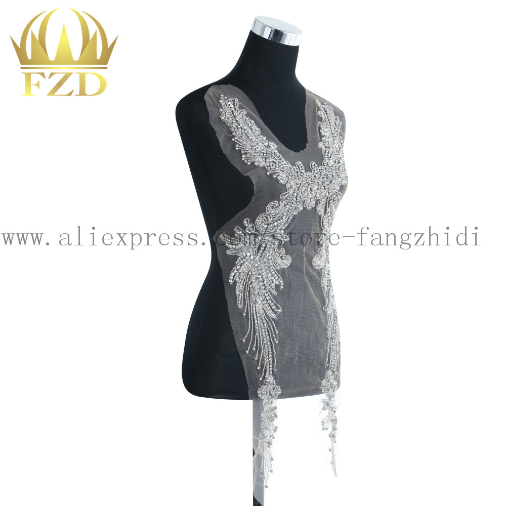 FZD 1 Piece Tasseled stone clothing Beaded Rhinestone Applique Patches with Gauze pompom and Evening Dress diy Craft stripes-in Patches from Home & Garden    3