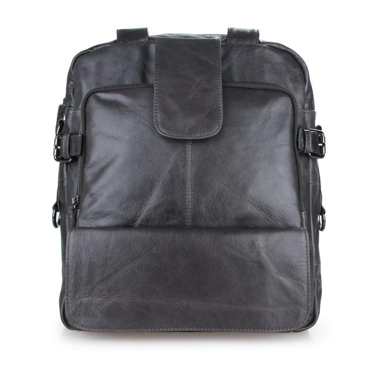 J.M.D Real Leather Unisex Fashion Cool Black Laptop Backpack Multifunction Travel Bag Shoulder Bag 7065IJ.M.D Real Leather Unisex Fashion Cool Black Laptop Backpack Multifunction Travel Bag Shoulder Bag 7065I