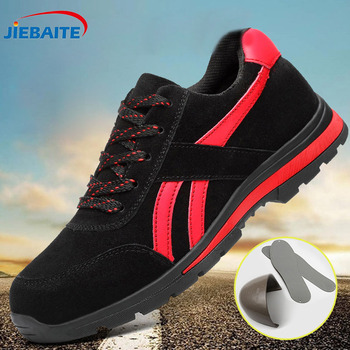 Men's Outdoor Steel Toe Cap Protective Safety Shoes Men Steel-Mid Sole Puncture Proof Work Shoes Breathable