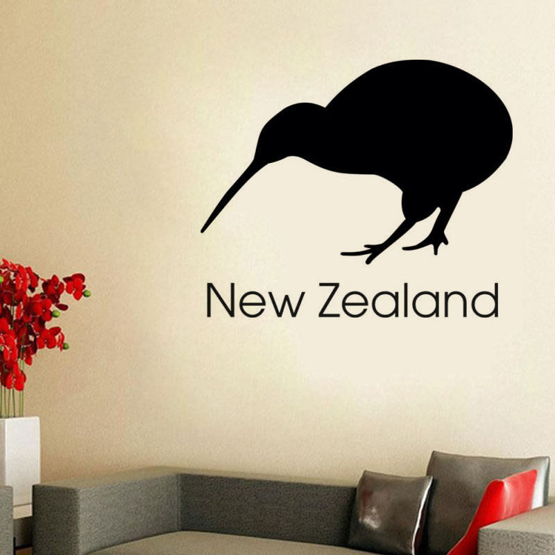 DCTOP New Zealand Kiwi Wall Stickers Office Wall Decor Vinyl Removable Self Adhesive Bird Mural Diy Home Decoration