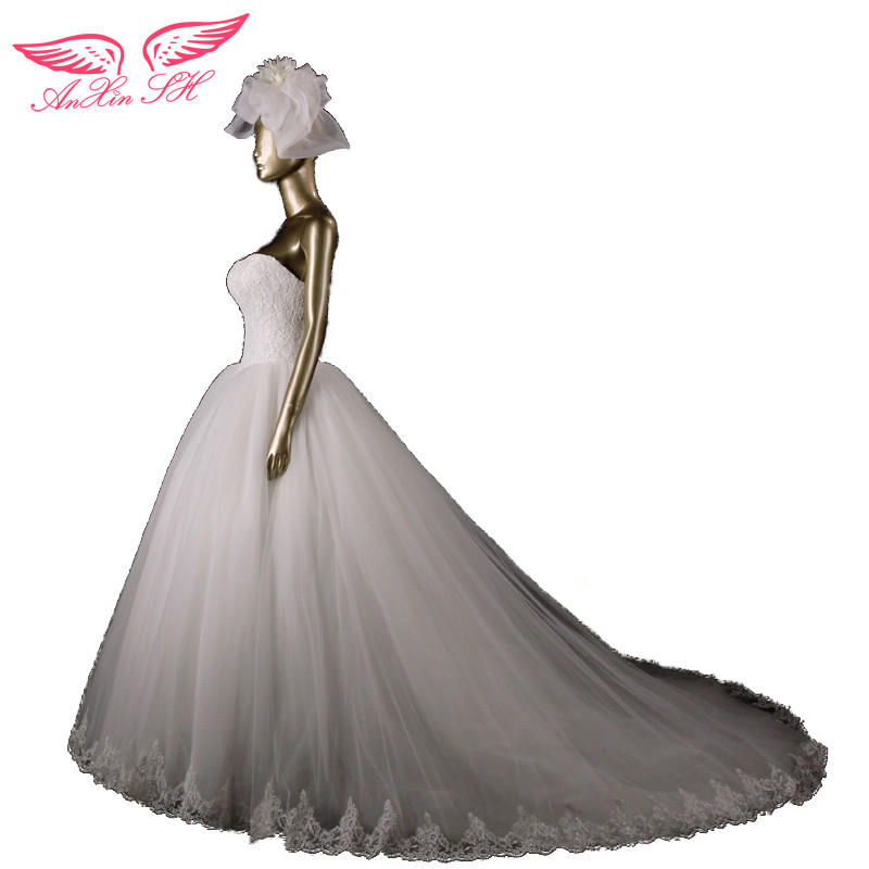 AnXin SH Designer Limited edition quality font b wedding b font dress fashion brief lace sweetheart