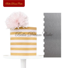 цена Stripe Stainless Steel Scraper Cake Spatulas Butter Cream Smoother Tool Fondant Baking Mould Cake Decorating Tools Cake Mold онлайн в 2017 году