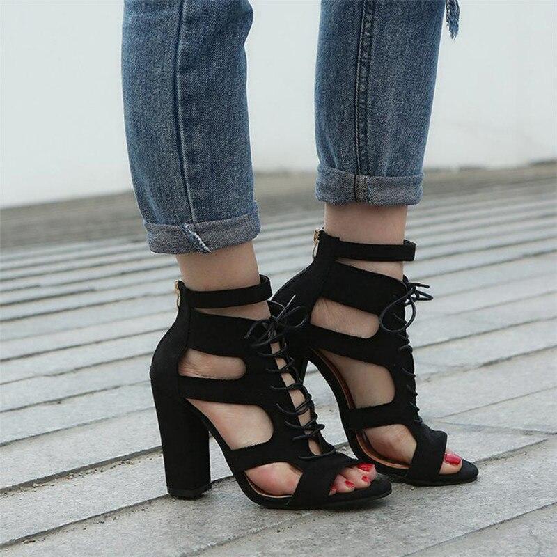 Más Tacón Beige Mujer 34 Moda Scrub ~ Tamaño Super negro Hollow 43 Atado Sandalias Zapatos Roma Cruz Verano Out De fCOwqxwA