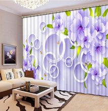 Curtains Decoration European 3D Curtains For Living room Blackout purple curtains flower curtain(China)