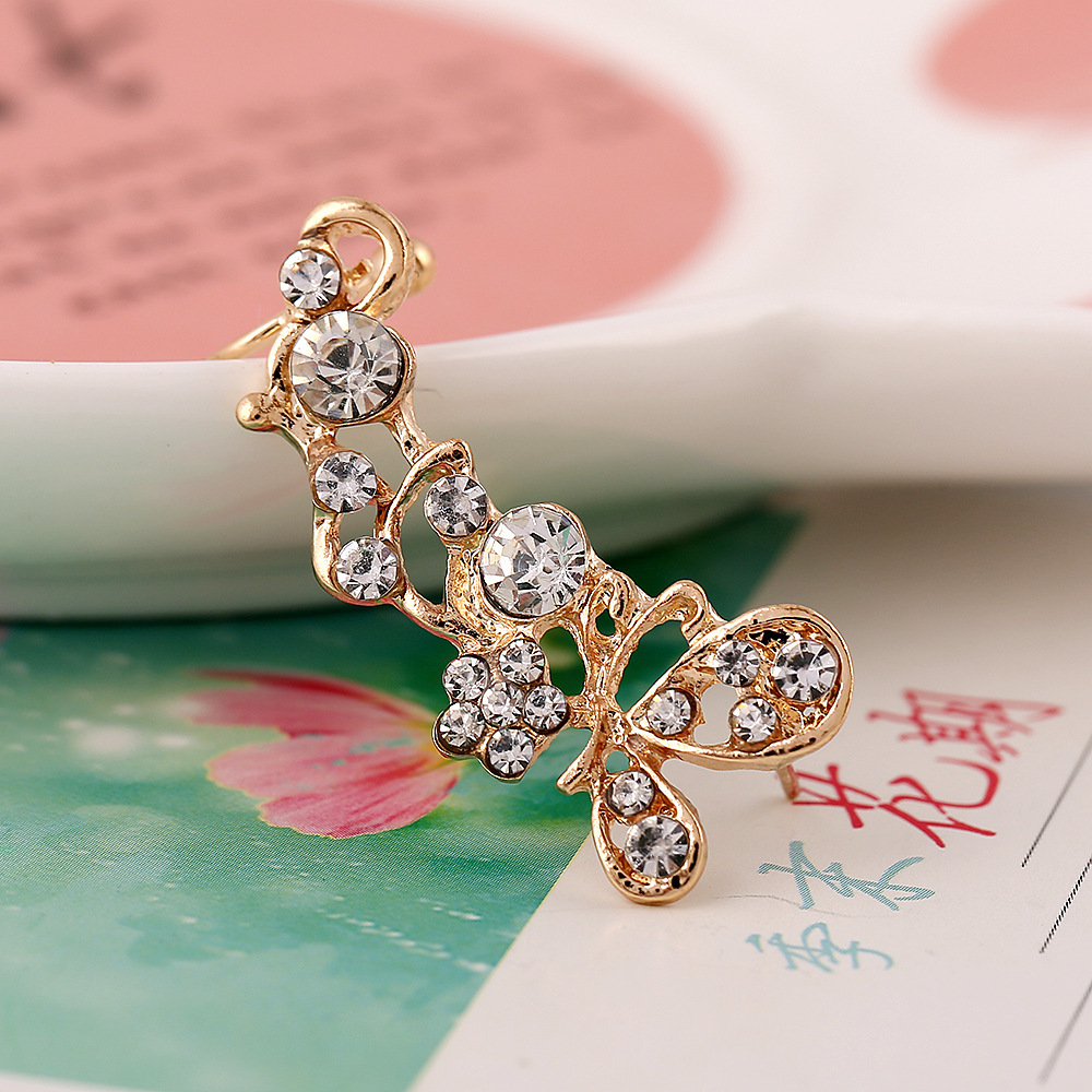 1 Piece Hot New Fashion Cartilage Earrings Bright Full Crystal Flower  Sharp Right Ear Cuff Clips