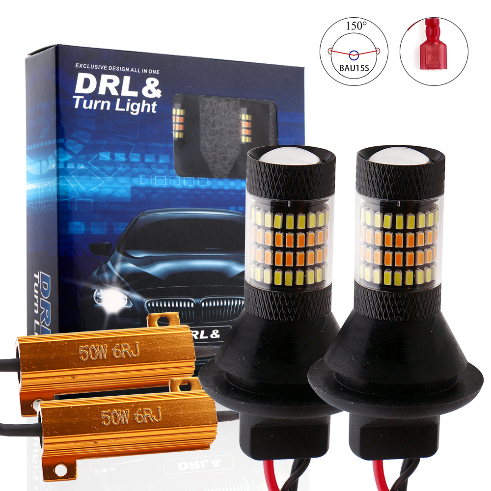 Car Lights 1156 BA15S/1156 BAU15S/T20 7440 Car Light Daytime Running Light+Turn Signal Dual Mode DRL LED External Lights