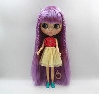 Jasny fiolet hai liu proste włosy nude Blyth doll lalki zwykłe skóra 7 wspólny organ DIY zabawki lalki mody może zmienić ciało.