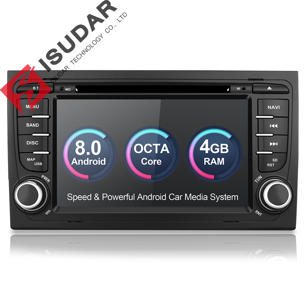 Isudar lecteur multimédia De Voiture autoradio 2 Din GPS Android 8.0.0 chaîne hi-fi Pour Audi/A4/S4 2002-2008 4 GO de RAM DSP DVR OBD2 FM