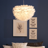 Led Modern Pendant 3 Lights White Feather Dia60cm Cord Suspension Lamp for Dinning Room luminaria Lighting