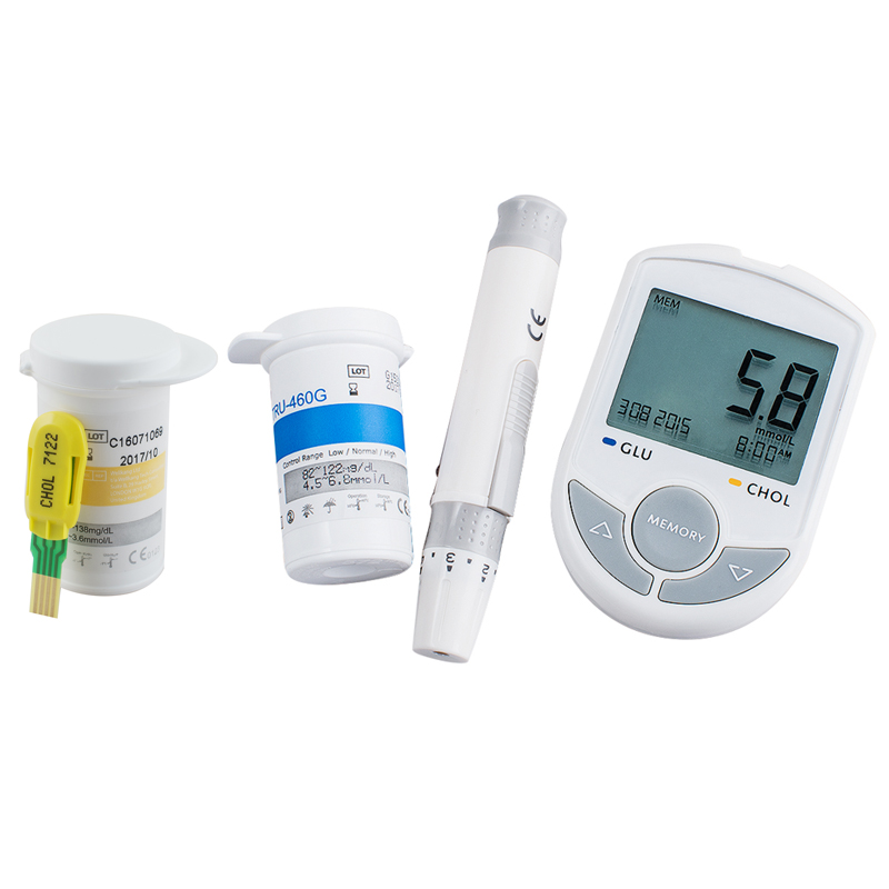 Bluetooth 4.0 Glucose / Cholesterol 2in1 Meter monitor with APP for IOS Android 10pcsCholesterol strip+50 Glucose Test Strips-in Blood Glucose ...
