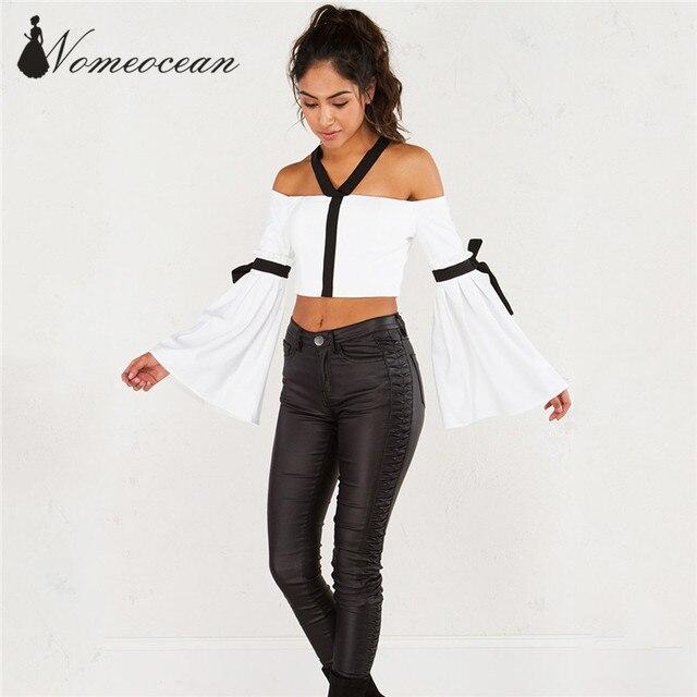 3ebeca8cf1b5c OFF SHOULDER TOP Short Design Women Shirts White 2017 Summer Halter Neck  Patchwork Crop Top Blouses Long Sleeve Shirt M17050203