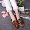 Sapatos femininos2015New Весна/лето женщины квартиры леопардовым принтом плоские повседневная обувь острым носом лодка Мокасины обувь бесплатная доставка