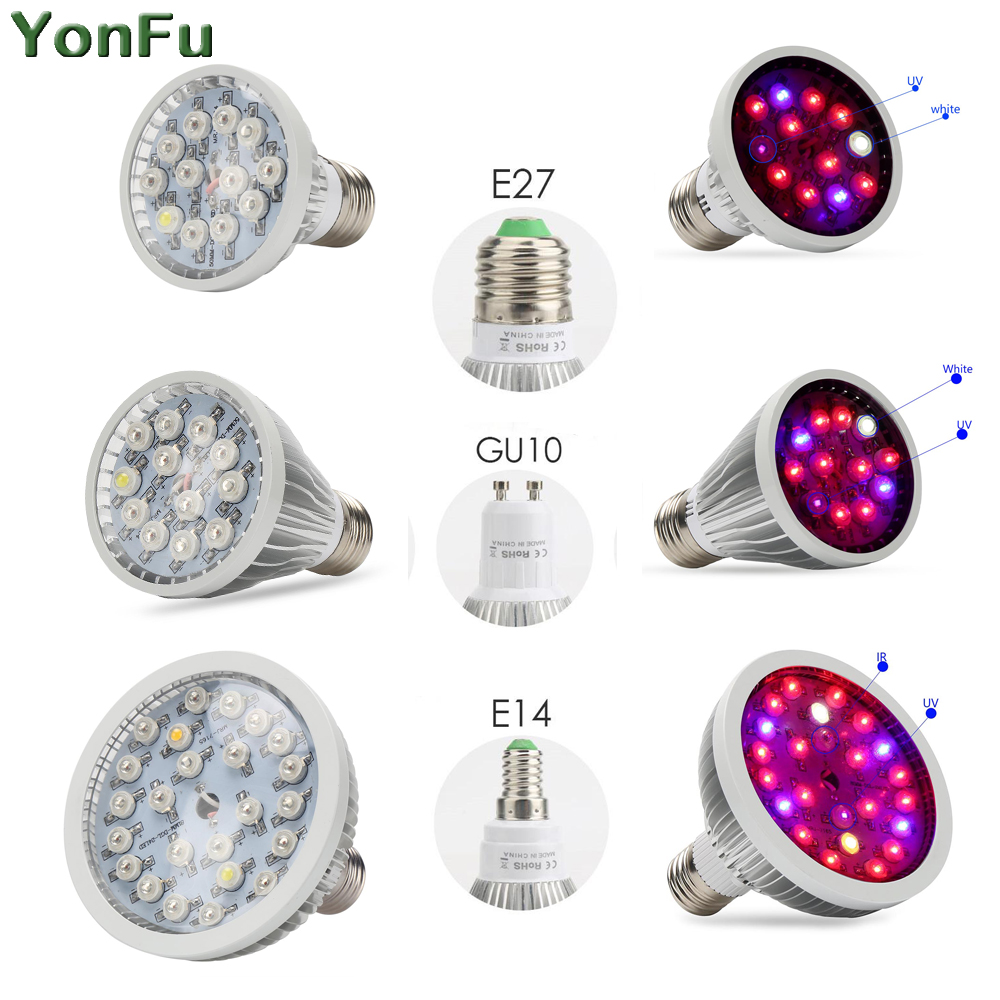 E27 E14 GU10 Led Grow Light Full Spectrum 30W 36W 50W Growing Light Bulb For LED Growing Lamp For Indoor Plants Flower Seeding