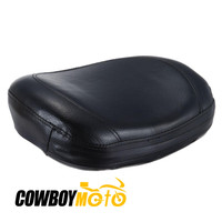 Motorcycle Leather Passenger Seat Backrest Pillion Cushion Pad Black Universal For Harley Chopper Cruiser Bobber Custom