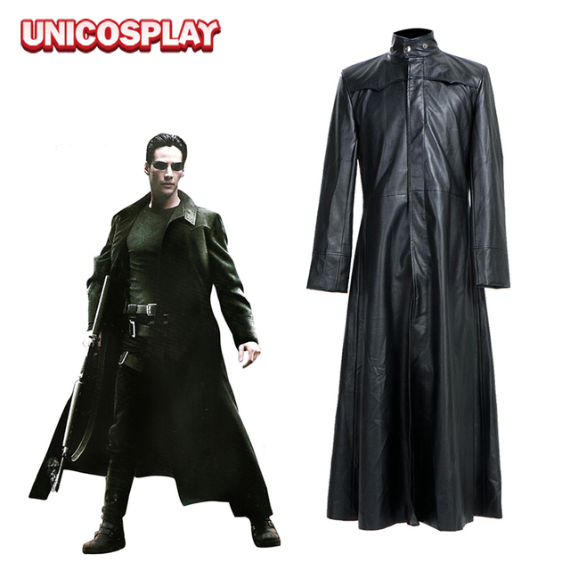 Matrix Neo Coat Cosplay Costumes Long Black Leather Trench