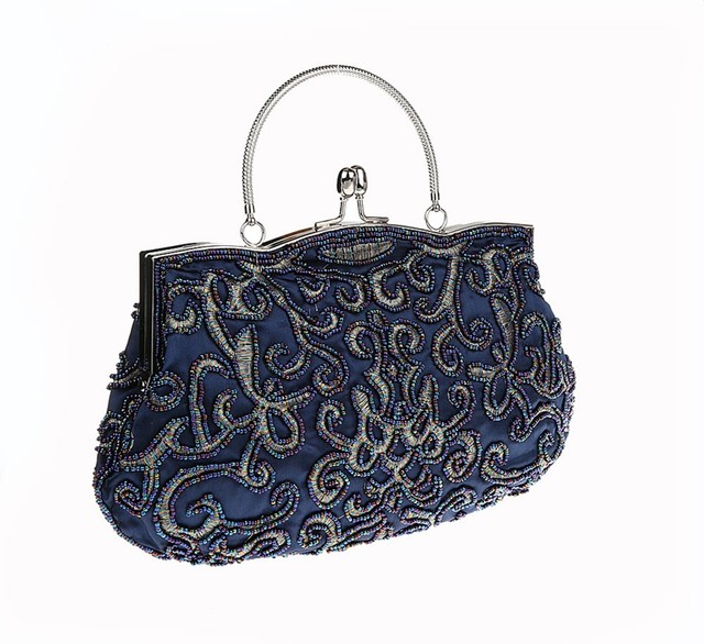 New Design Navy Blue Chinese Women Beaded Wedding Evening Bag Clutch Handbag Stylish Bride Party Purse Makeup 03606 1