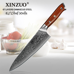 XINZUO 8.5'' Chef Knife Japanese Damascus Forged Steel Kitchen Knife Professional Gyutou Knives Stainless Steel Rosewood Handle