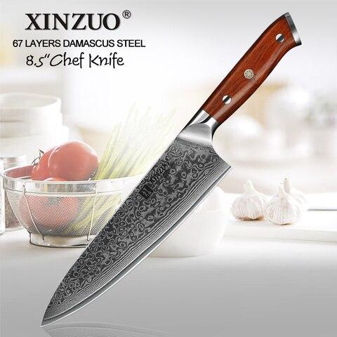 faca do Chef Faca de Cozinha Facas de Aço Xinzuo 8.5 Japonês Gyutou Damasco Aço Forjado Profissional Inoxidável Jacarandá Lidar