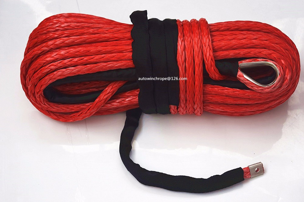 Red 14mm*45m Synthetic Rope,ATV Winch Cable for Electric Winch, Plasma Rope,Off Road Rope for Auto Parts