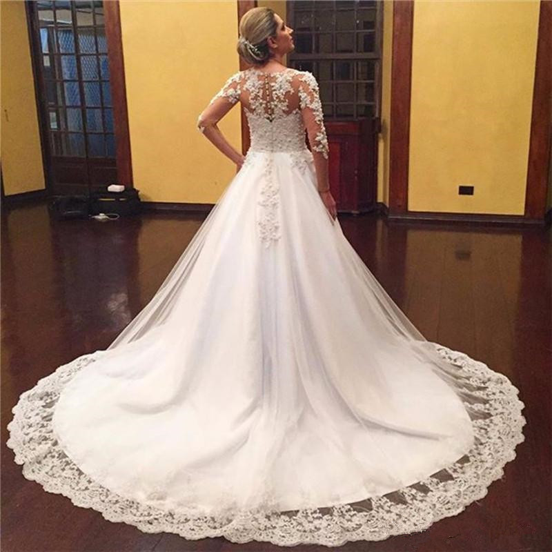 2019 Sexy V Neck Lace Appliques Beaded Tulle Vestido De Noiva Bridal Gowns Plus Size Long Sleeve Ball Gowns Wedding Dress