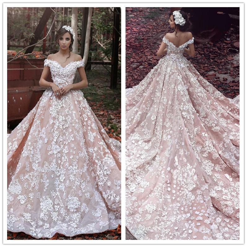 2017 Fashion Said Mhamad Blush Pink Lace Wedding Dresses Off Shoulder Ball Gown Backless Women Bridal Gowns In From Weddings
