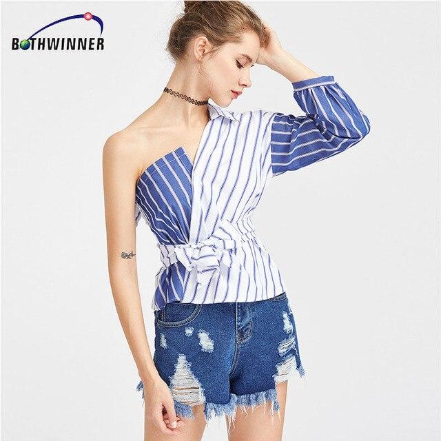403e9f0dfc8ae Bothwinner Striped Women Blouses One Shoulder V-neck Half Puff Sleeve  Casual Shirts Women Bow Ruffle Tie Waist Slim Tops