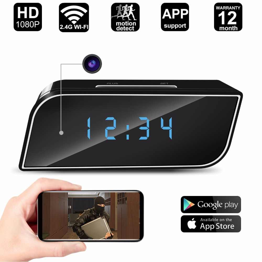 WiFi Mini Camera Alarm Clock HD 1080P Video Recorder Night Vision Motion Sensor Home Security DVR IP Nanny Cam Colorful Lights