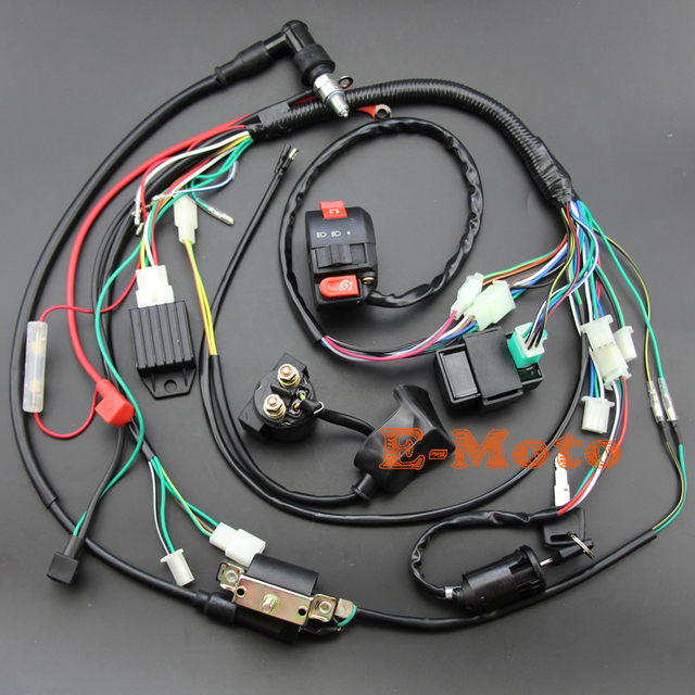 buy full electrics wiring harness coil cdi spark plug kits for 50cc 70cc 90cc. Black Bedroom Furniture Sets. Home Design Ideas