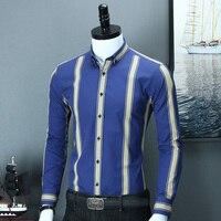 Men's Blue & Yellow Bold Stripe Slim Fit Smart Casual Shirt Simple Design Long Sleeve Button collar Comfortable Cotton Shirts