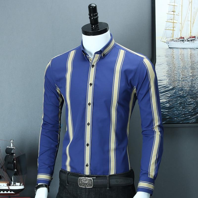 Men's Blue & Yellow Bold Stripe Slim Fit Smart Casual Shirt Simple Design Long Sleeve Button-collar Comfortable Cotton Shirts