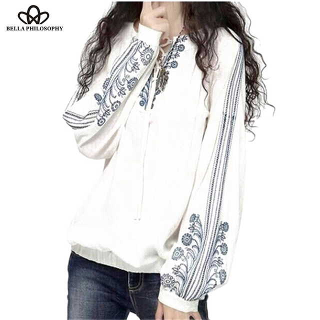 Bella Philosophy 2016 spring summer autumn ethnic vintage long sleeves blue-and-white floral embroidered tie neck shirts blouses
