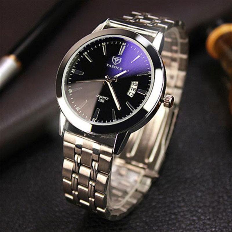 YAZOLE Date Stainless Steel Wrist Watch Men Top Brand Luxury Famous Male Clock Quartz Watch for Men Hodinky Relogio Masculino
