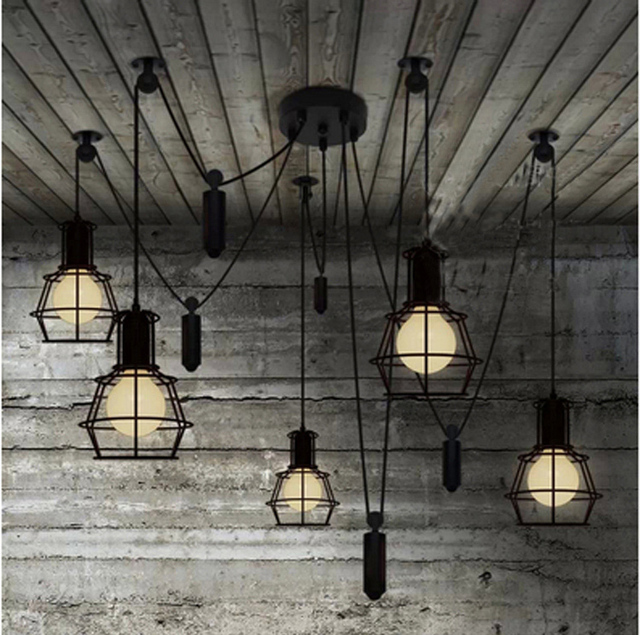 bar active spider lamp retro industrial lighting candelabro kitchen novelty spider pulley pendant lamp dining room