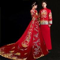 231606c59 Bride Groom Cheongsam Vintage Chinese Style Wedding Dress Clothing Lady  Embroidery Phoenix Gown Marriage Qipao Red. Novia novio Cheongsam de estilo  chino ...