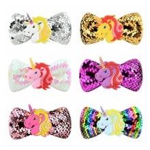 New sequins rainbow unicorn bow hairpin cute baby cartoon animal girl hair accessories