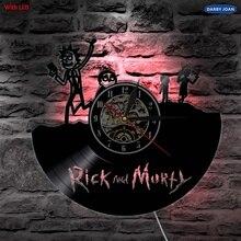 Rick y Morty vinilo Led iluminación de pared Vintage LP lámpara de Registro Creativo silueta LED luces hechas a mano decoración arte regalo