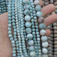 Round Larimar GEM Stone Beads Natural Stone Beads DIY Loose Beads For Jewelry Making Strand 15