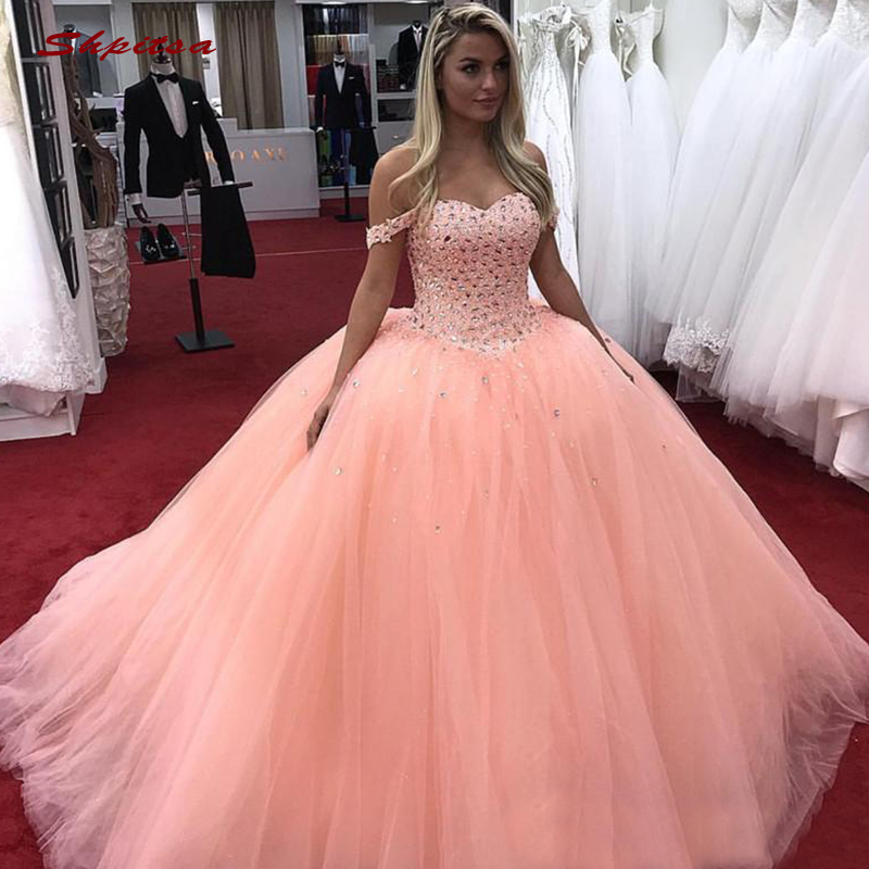 Luxury Crystal Quinceanera Dresses Ball Gown Off Shoulder Tulle Prom Debutante Sixteen 15 Sweet 16 Dress Vestidos De 15 Anos(China)