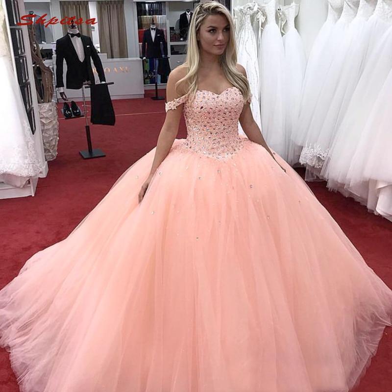 f3d7a6857ab ... 15 anos dulces 16. Cheap Vestidos de Quinceañera de cristal de lujo  vestido de baile de tul con hombros descubiertos