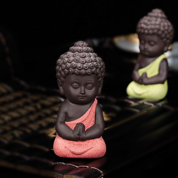 Buddha Statue Figures Ornament Ceramic Little Monk Figurine Home Decor for Car Living Room Teahouse Hot Sale