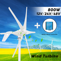 800W 12V 24 V 48 Volt 6 blade HT Wind Power Generator Turbine Windmill with 800W Waterproof Charge Controller 12V 24V