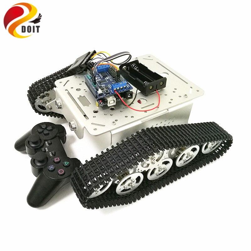 T300 contrôle de poignée sans fil châssis de réservoir RC avec carte UNO R3 + panneau de blindage d'entraînement moteur pour projet de Robot Arduino