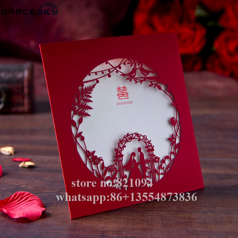 Aliexpress 12pcs Lot Laser Cut Asian Style Bride And Groom Design Elegant Wedding Invitations Cards With Inner Blank Paper From