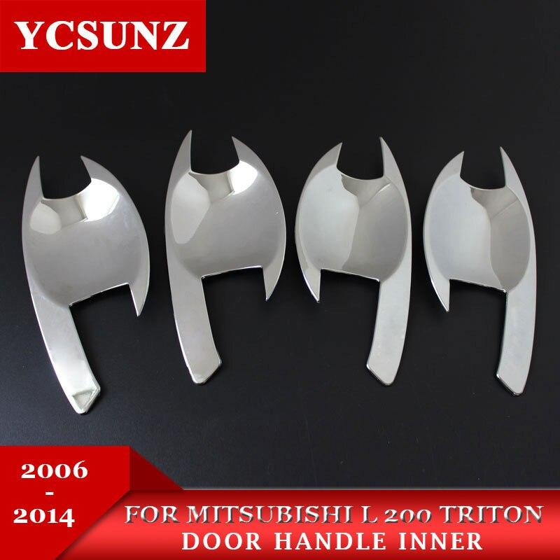 Chrome pour mitsubishi l200 accessoires ABS plaque porte poignée bowl insérer pour mitsubishi l200 triton 2006-2014 car styling SUNZ