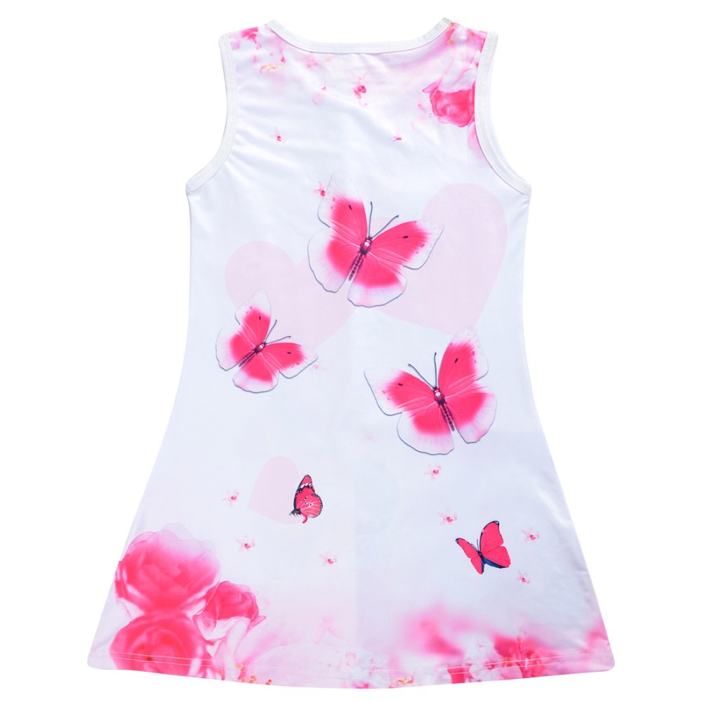 2019 Summer Girls Dress Butterfly Unicorn Print Kids Dresses Baby Girls Princess Dress Party Clothes Sleeveless Birthday Dresses