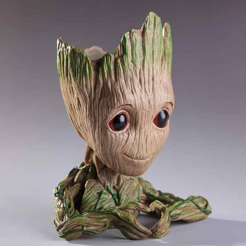 Vinyl Baby Groot Blumentopf Baum Mann Blumentopf Pflanzer Action-figuren Spielzeug Nette Modell Spielzeug Stift Topf Weihnachten Geschenk Hause tisch Dekor